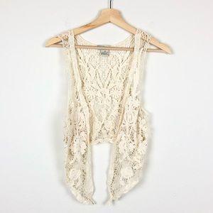 Rebellion Cream Boho Crochet Floral Lace Vest